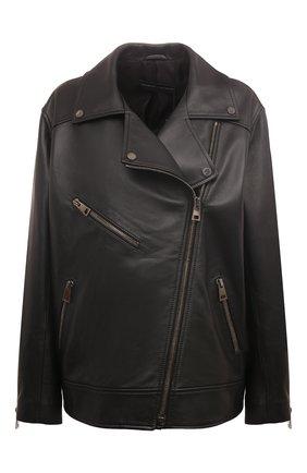 Женская кожаная куртка MASLOV черного цвета, арт. SMW101 | Фото 1