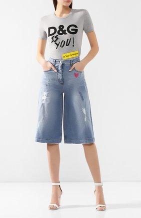 Женские укороченные джинсы DOLCE & GABBANA голубого цвета, арт. FTBFXZ/G8Z59 | Фото 2