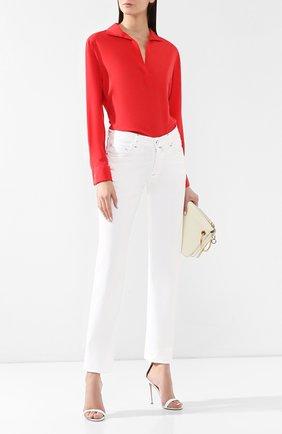 Женская шелковая блузка KITON кораллового цвета, арт. D47443K09M33   Фото 2 (Материал внешний: Шелк; Длина (для топов): Стандартные; Рукава: Длинные; Принт: Без принта; Женское Кросс-КТ: Блуза-одежда; Статус проверки: Проверена категория)