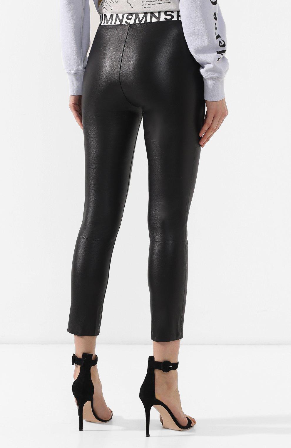 5dd34648b0749 Женские черные кожаные леггинсы SPRWMN — купить за 56250 руб. в ...