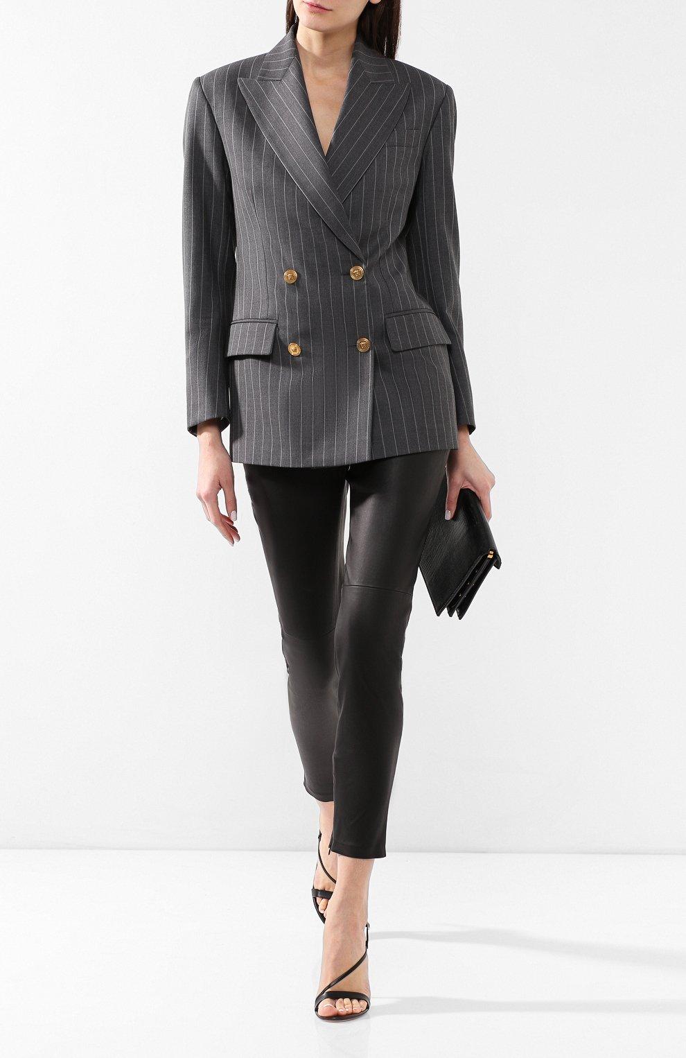 Шерстяной жакет Versace серый   Фото №2