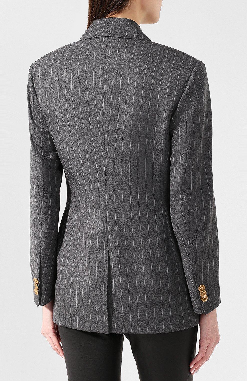 Шерстяной жакет Versace серый   Фото №4