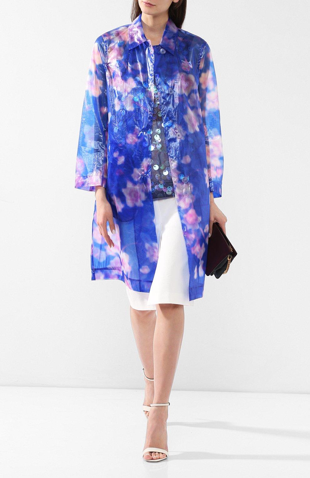 Пальто с принтом Dries Van Noten синего цвета | Фото №2