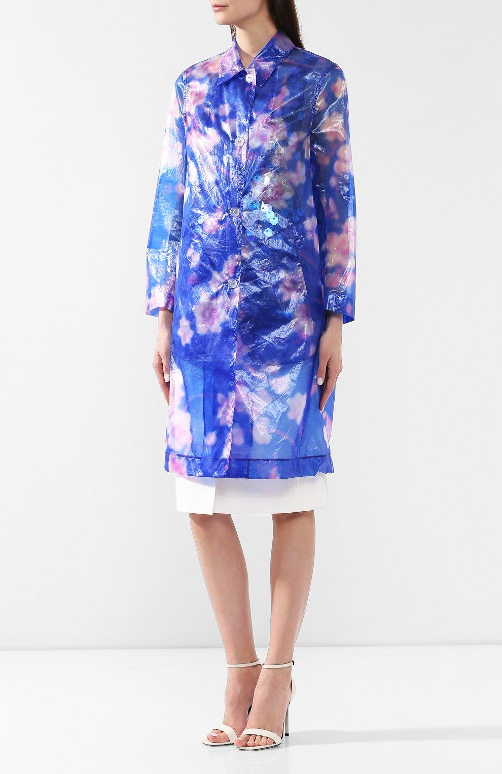 Пальто с принтом Dries Van Noten синего цвета | Фото №3