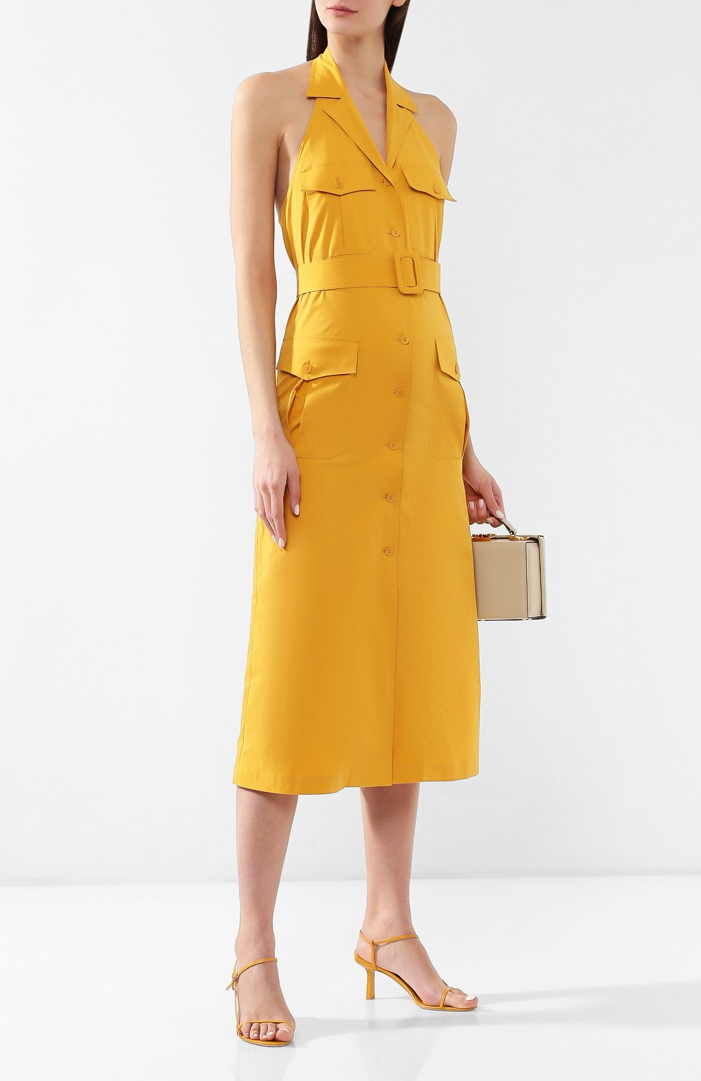 Хлопковое платье Loro Piana желтое   Фото №2