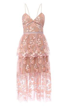 Женское платье-миди SELF-PORTRAIT розового цвета, арт. SP21-127 | Фото 1