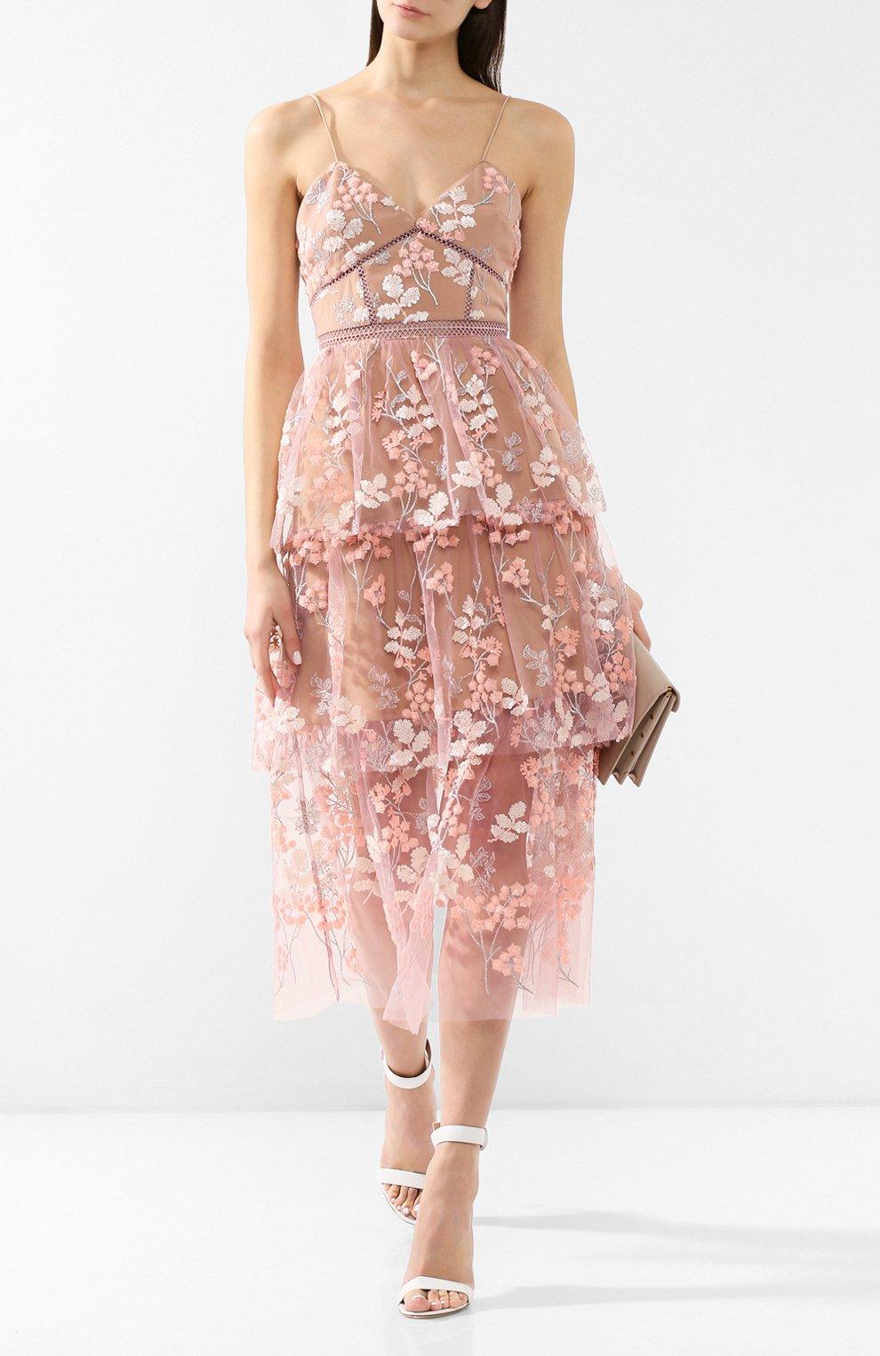 Женское платье-миди SELF-PORTRAIT розового цвета, арт. SP21-127 | Фото 2