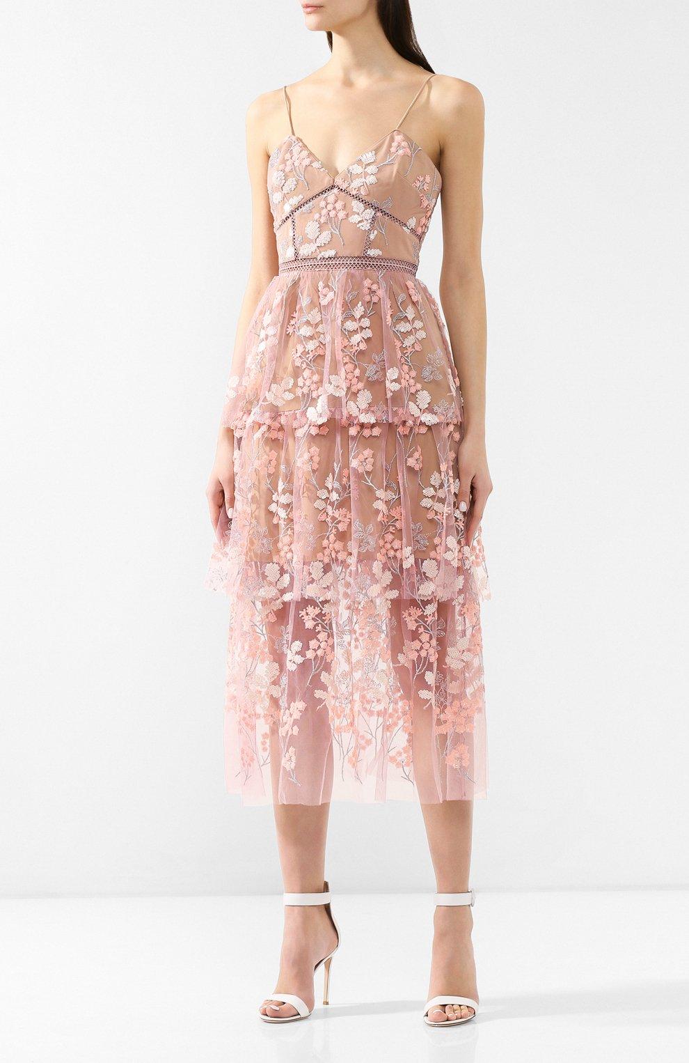 Женское платье-миди SELF-PORTRAIT розового цвета, арт. SP21-127 | Фото 3