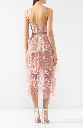 Женское платье-миди SELF-PORTRAIT розового цвета, арт. SP21-127 | Фото 4