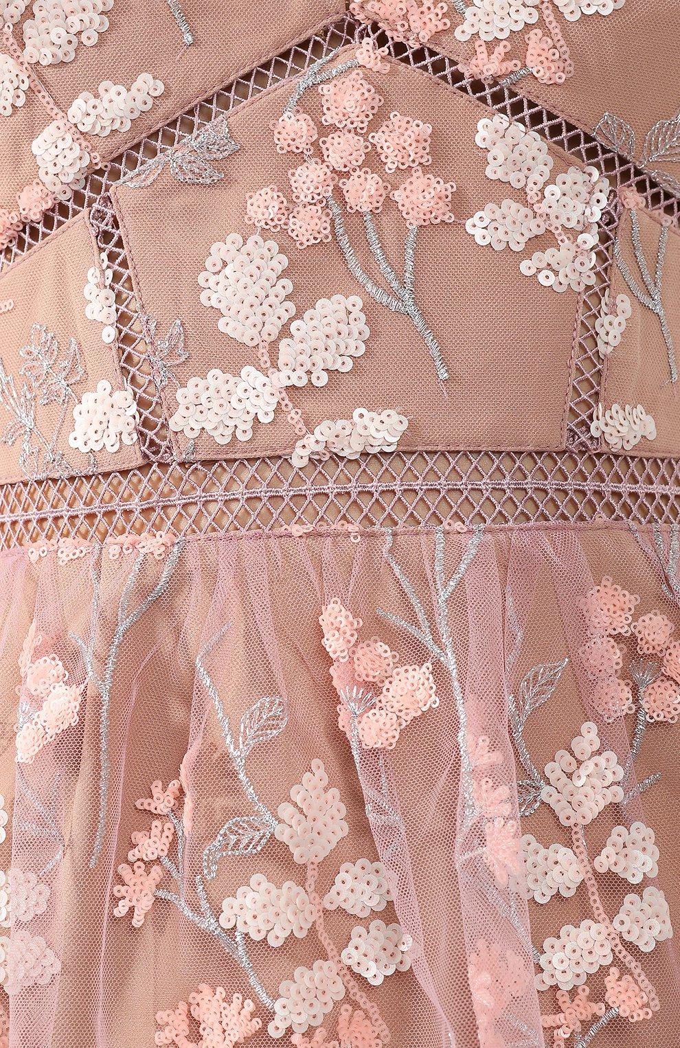Женское платье-миди SELF-PORTRAIT розового цвета, арт. SP21-127 | Фото 5