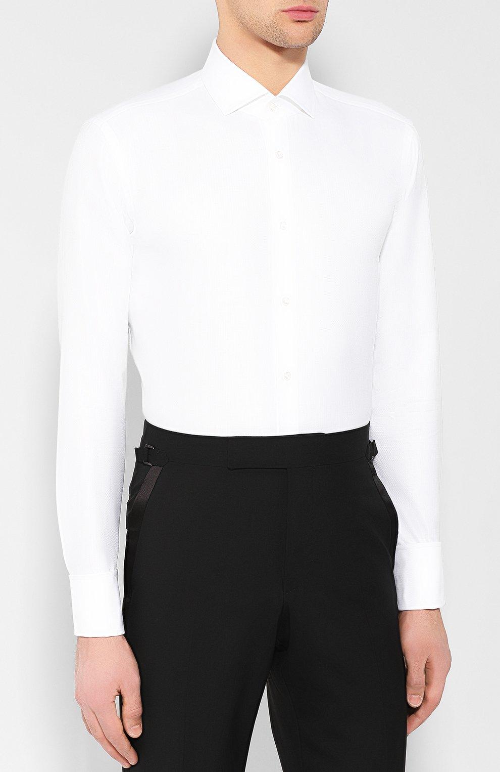 64eaa00577d Мужская белая хлопковая рубашка BOSS — купить за 12500 руб. в ...