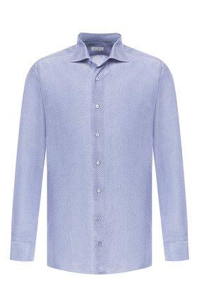 Мужская рубашка из смеси шелка и хлопка ZILLI синего цвета, арт. MFR-MERCU-84080/RZ02 | Фото 1