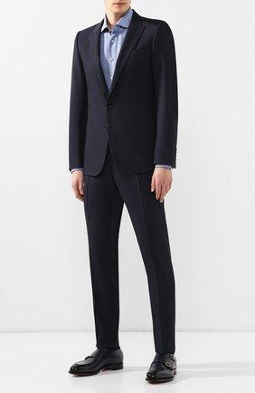 Мужская рубашка из смеси шелка и хлопка ZILLI синего цвета, арт. MFR-MERCU-84080/RZ02 | Фото 2