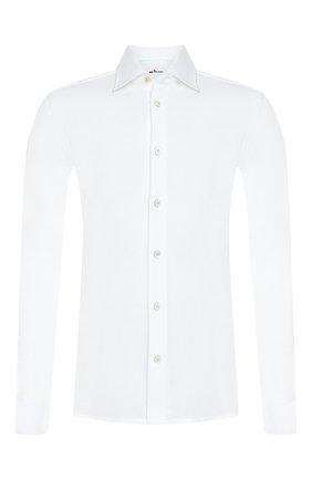 Мужская хлопковая рубашка с воротником кент KITON белого цвета, арт. UMCNERK06R5012 | Фото 1