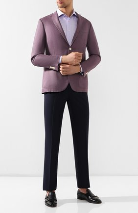 Мужская хлопковая сорочка с воротником кент BRIONI сиреневого цвета, арт. RCL815/P806H | Фото 2