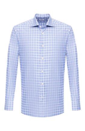 Мужская хлопковая рубашка KITON голубого цвета, арт. UCIH0692810 | Фото 1