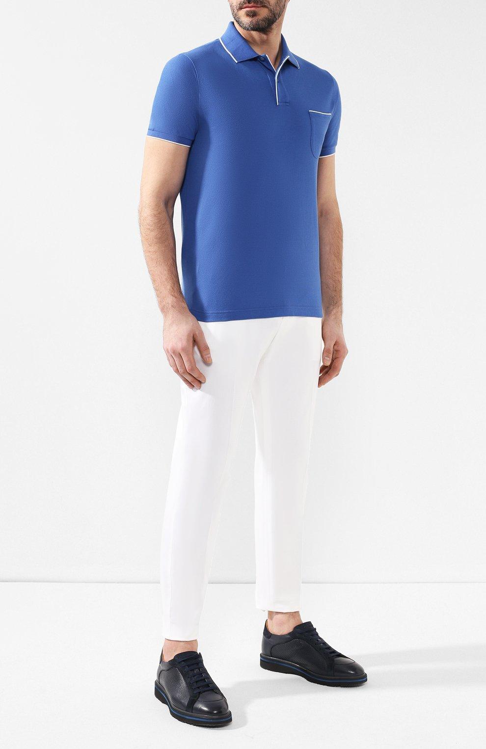 Мужские кожаные кеды ANDREA CAMPAGNA синего цвета, арт. 360008.173.144 | Фото 2