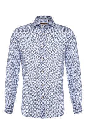 Льняная рубашка с воротником кент   Фото №1