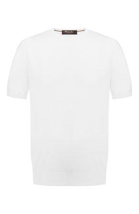 Мужской хлопковый джемпер LORO PIANA белого цвета, арт. FAI6176 | Фото 1