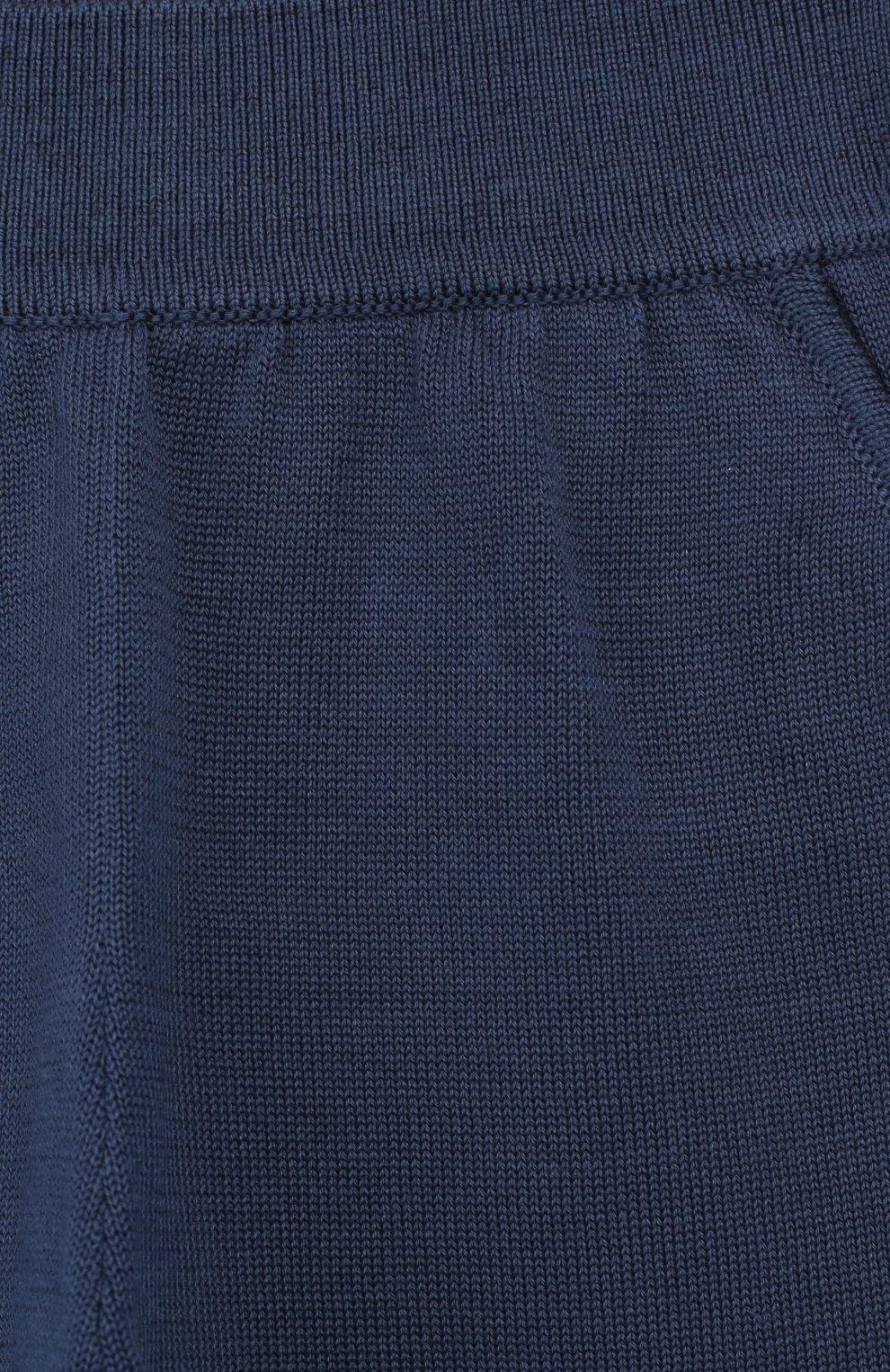 Детские хлопковые брюки LORO PIANA темно-синего цвета, арт. FAI4921   Фото 3