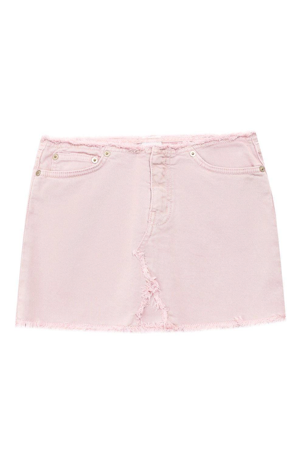 Детская джинсовая мини-юбка DONDUP розового цвета, арт. YG100/BS0009B/V75 | Фото 1 (Материал внешний: Хлопок; Статус проверки: Проверено; Ростовка одежда: 12 лет | 152 см, 10 - 11 лет | 140 - 146см, 13 - 15 лет | 158 см)