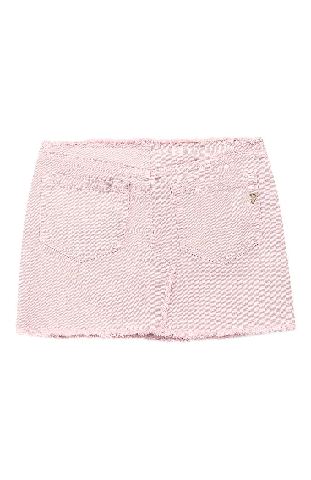 Детская джинсовая мини-юбка DONDUP розового цвета, арт. YG100/BS0009B/V75 | Фото 2 (Материал внешний: Хлопок; Статус проверки: Проверено; Ростовка одежда: 12 лет | 152 см, 10 - 11 лет | 140 - 146см, 13 - 15 лет | 158 см)
