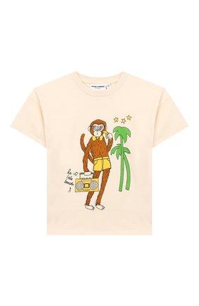 Детская хлопковая футболка MINI RODINI бежевого цвета, арт. 1922012711 | Фото 1