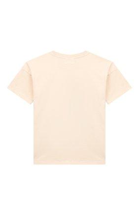 Детская хлопковая футболка MINI RODINI бежевого цвета, арт. 1922012711 | Фото 2