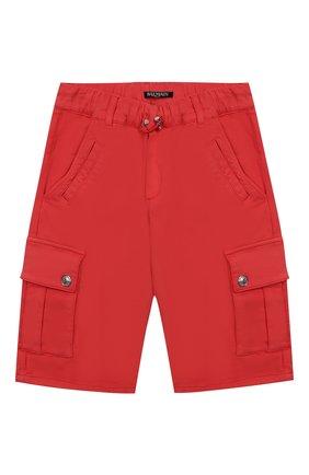 Детские хлопковые шорты BALMAIN красного цвета, арт. 6K6649/KD130/4-10 | Фото 1