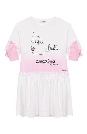 Детское хлопковое платье SIMONETTA розового цвета, арт. 1K1781/KA050/10-14+ | Фото 1