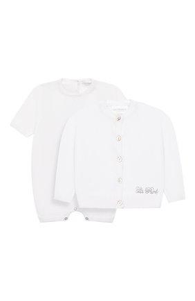 Детского комплект из комбинезона и кардигана LA PERLA белого цвета, арт. 48580 | Фото 1
