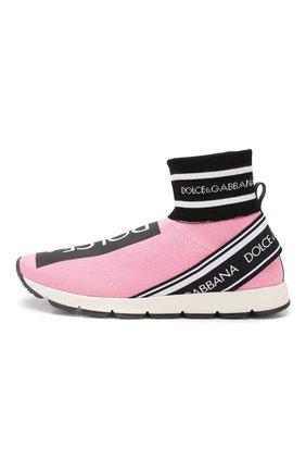 Детские текстильные кроссовки DOLCE & GABBANA розового цвета, арт. DA0720/AZ561/24-28 | Фото 2