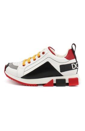 Детские кожаные кроссовки DOLCE & GABBANA белого цвета, арт. DA0711/AK635/29-36 | Фото 2