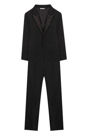 Детский шерстяной костюм из пиджака и брюк DOLCE & GABBANA черного цвета, арт. L41U49/FUBBG/8-14 | Фото 1