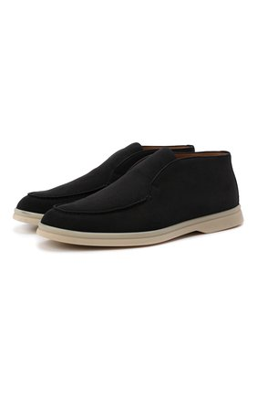 Женские замшевые ботинки open walk LORO PIANA темно-серого цвета, арт. FAE9959 | Фото 1