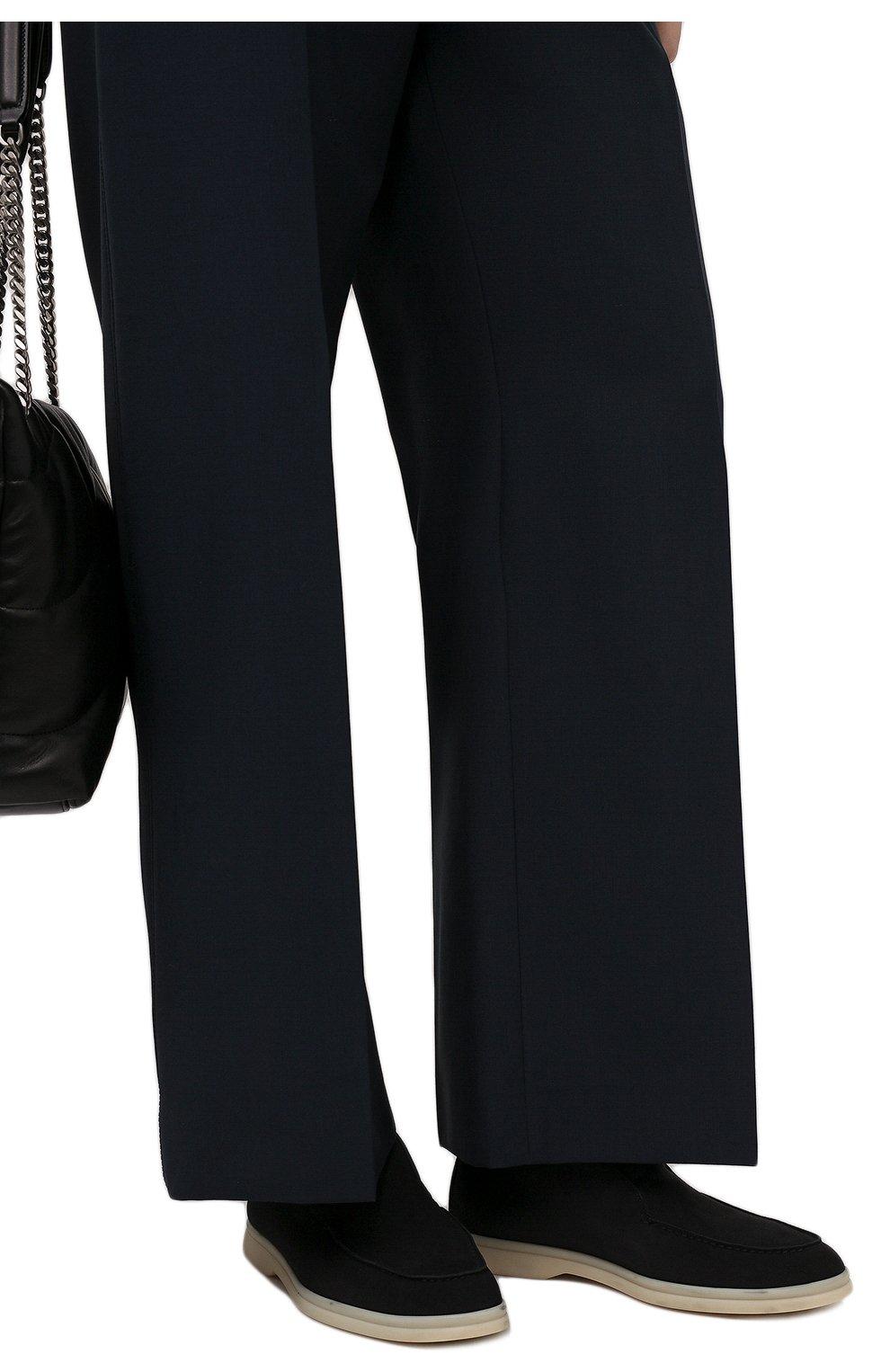 Женские замшевые ботинки open walk LORO PIANA темно-серого цвета, арт. FAE9959 | Фото 3