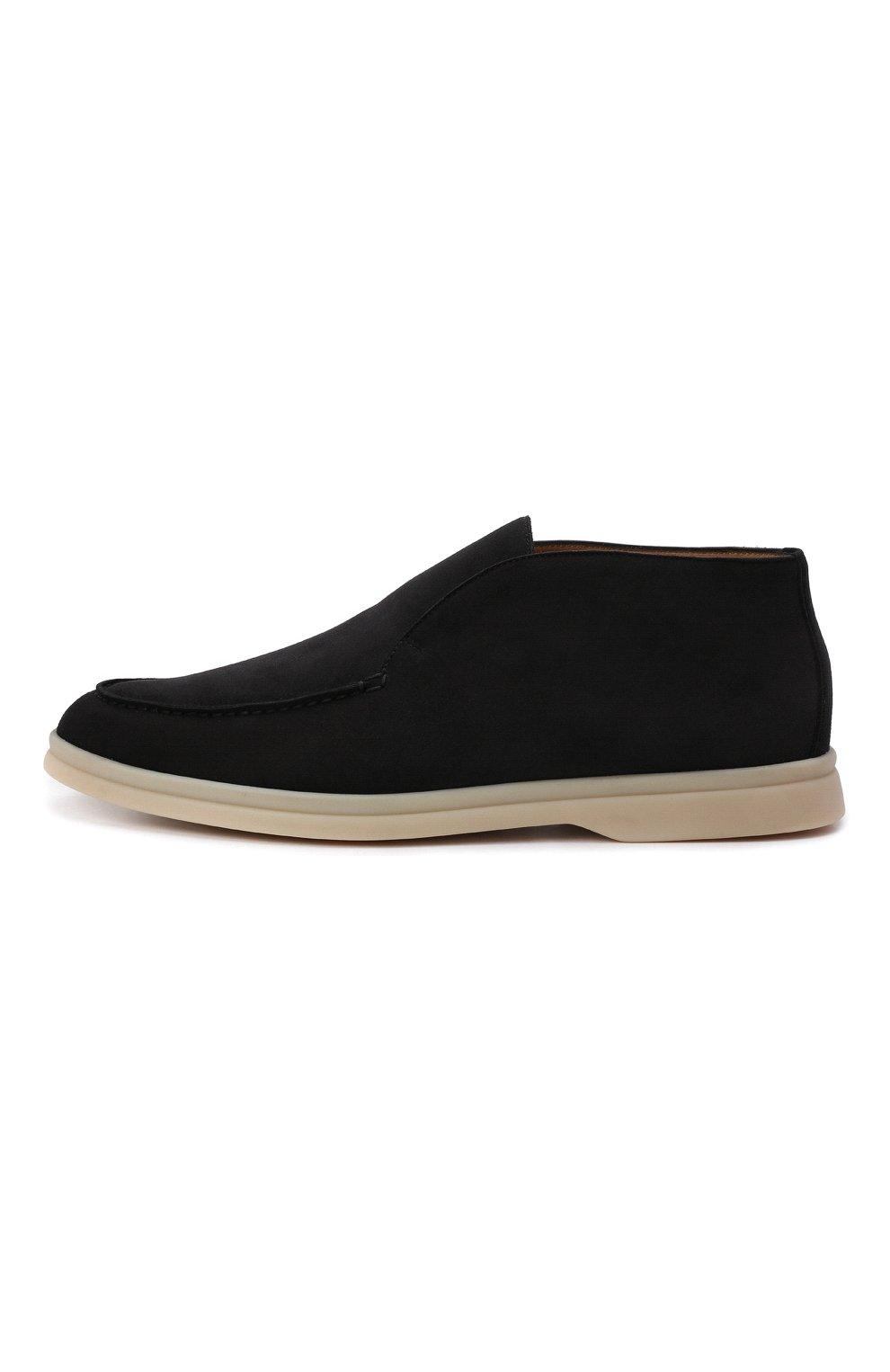 Женские замшевые ботинки open walk LORO PIANA темно-серого цвета, арт. FAE9959 | Фото 4