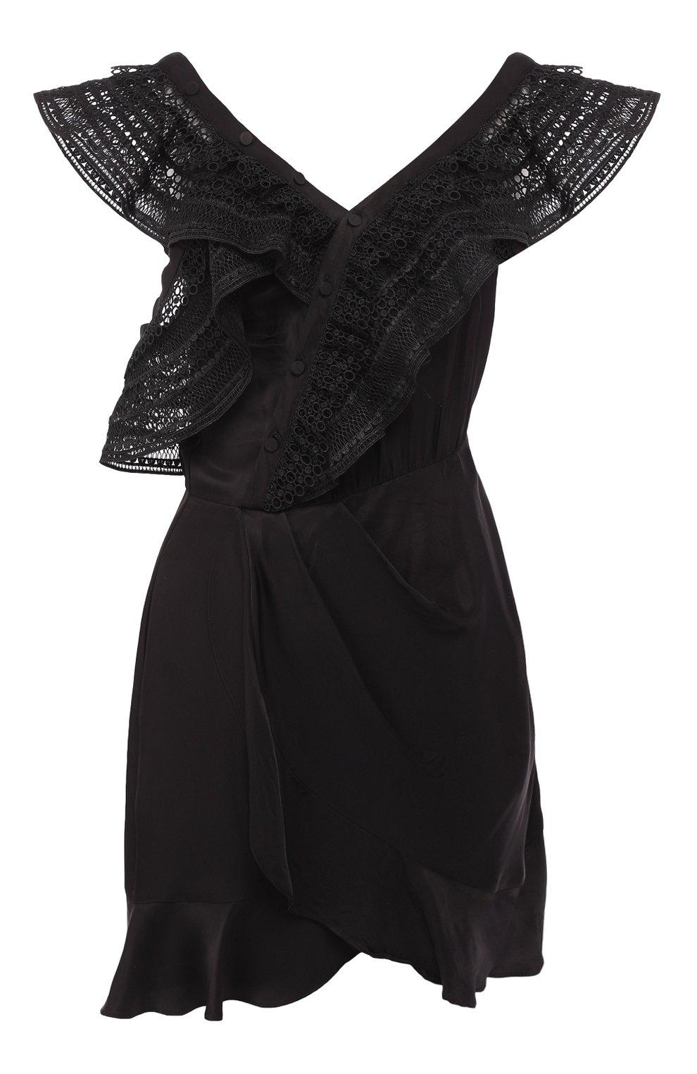 3049bb62c47 Женское черное платье с оборками SELF-PORTRAIT — купить за 28450 руб ...