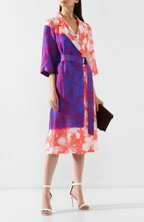 Платье с поясом Dries Van Noten розовое | Фото №2