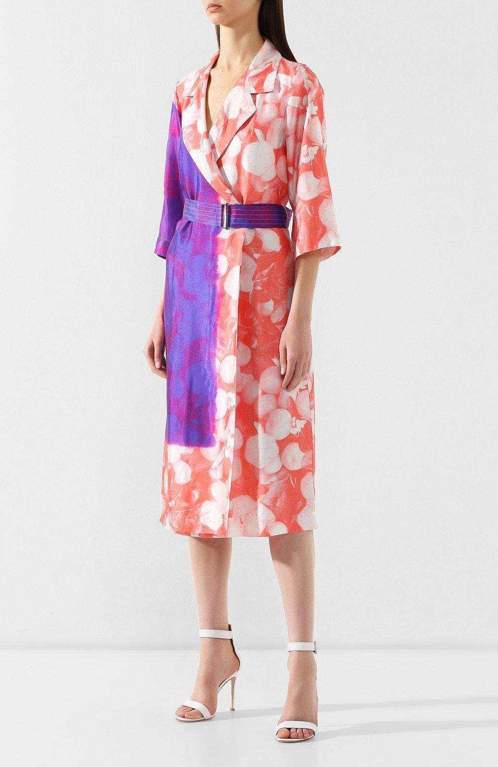 Платье с поясом Dries Van Noten розовое | Фото №3