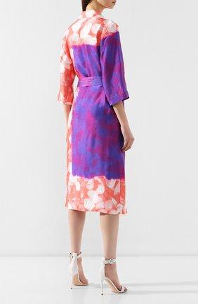 Платье с поясом Dries Van Noten розовое | Фото №4