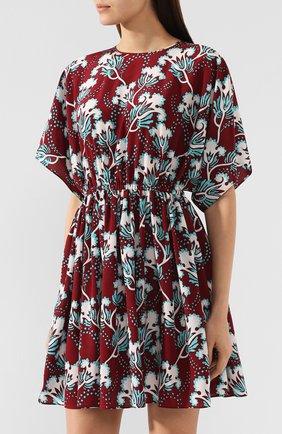Шелковое платье Valentino бордовое | Фото №3