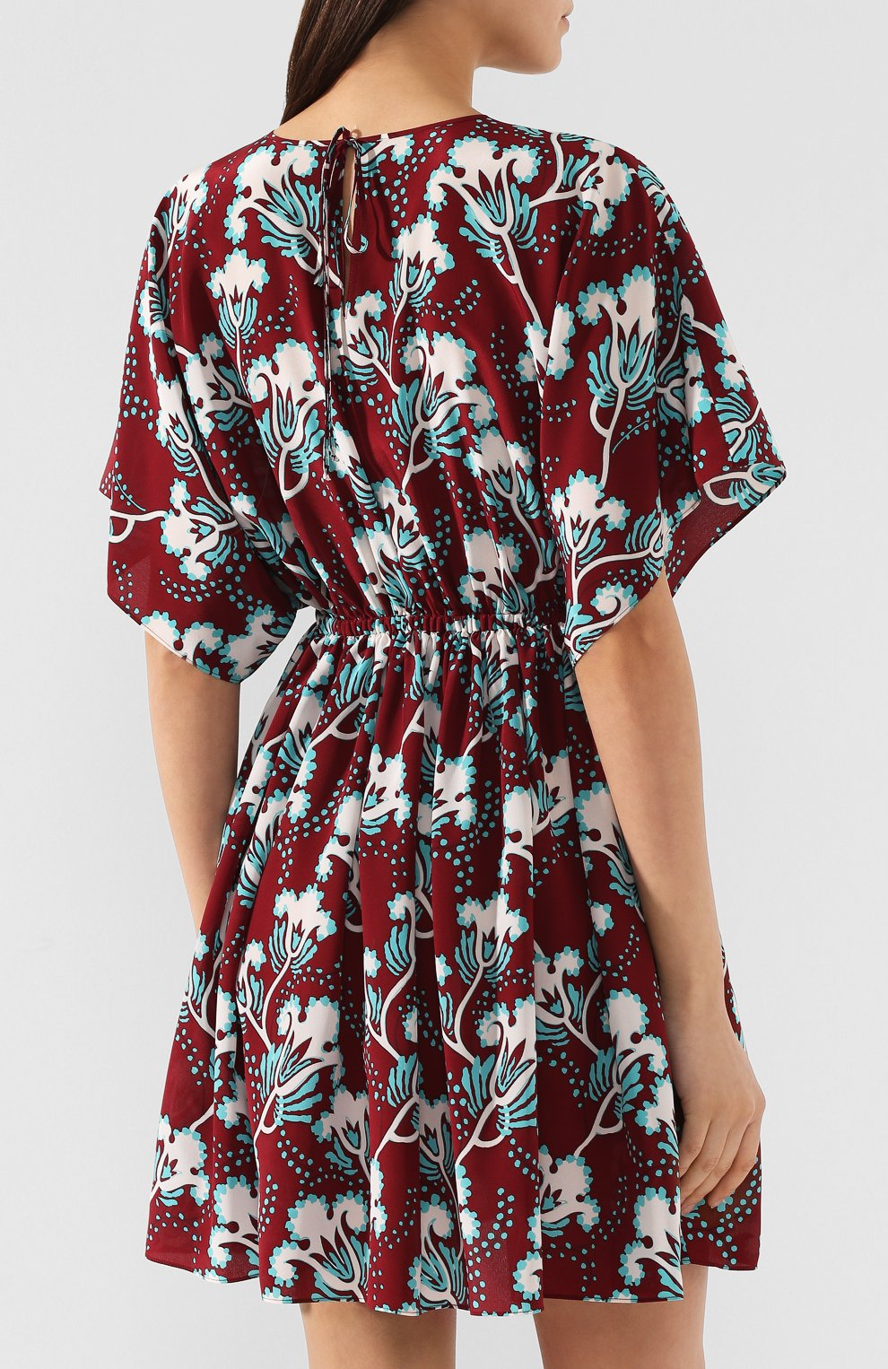 Шелковое платье Valentino бордовое | Фото №4