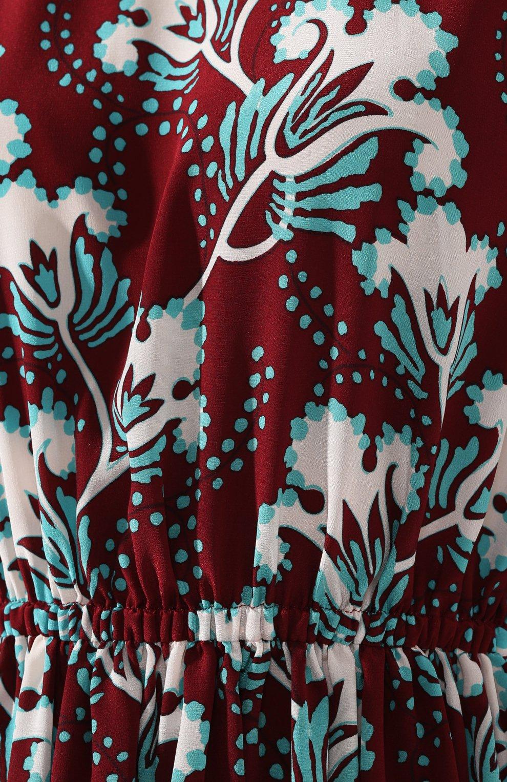 Шелковое платье Valentino бордовое | Фото №5