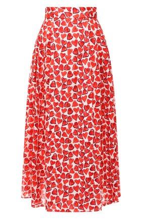 Женская хлопковая юбка WEILL красного цвета, арт. 102102 | Фото 1 (Длина Ж (юбки, платья, шорты): Миди; Статус проверки: Проверена категория, Проверено; Материал подклада: Хлопок; Материал внешний: Хлопок)