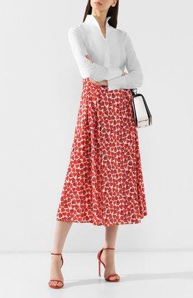 Женская хлопковая юбка WEILL красного цвета, арт. 102102 | Фото 2 (Длина Ж (юбки, платья, шорты): Миди; Статус проверки: Проверена категория, Проверено; Материал подклада: Хлопок; Материал внешний: Хлопок)