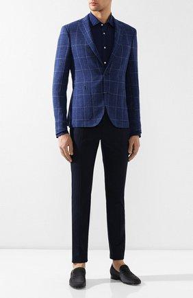 Мужская хлопковая рубашка RALPH LAUREN синего цвета, арт. 790734854 | Фото 2