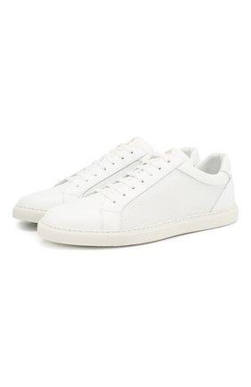 Мужские кожаные кеды CORNELIANI белого цвета, арт. 83TM58-9120903 | Фото 1