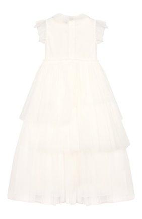 Детское макси-платье IL GUFO белого цвета, арт. P19VM520H0018/5A-8A | Фото 2