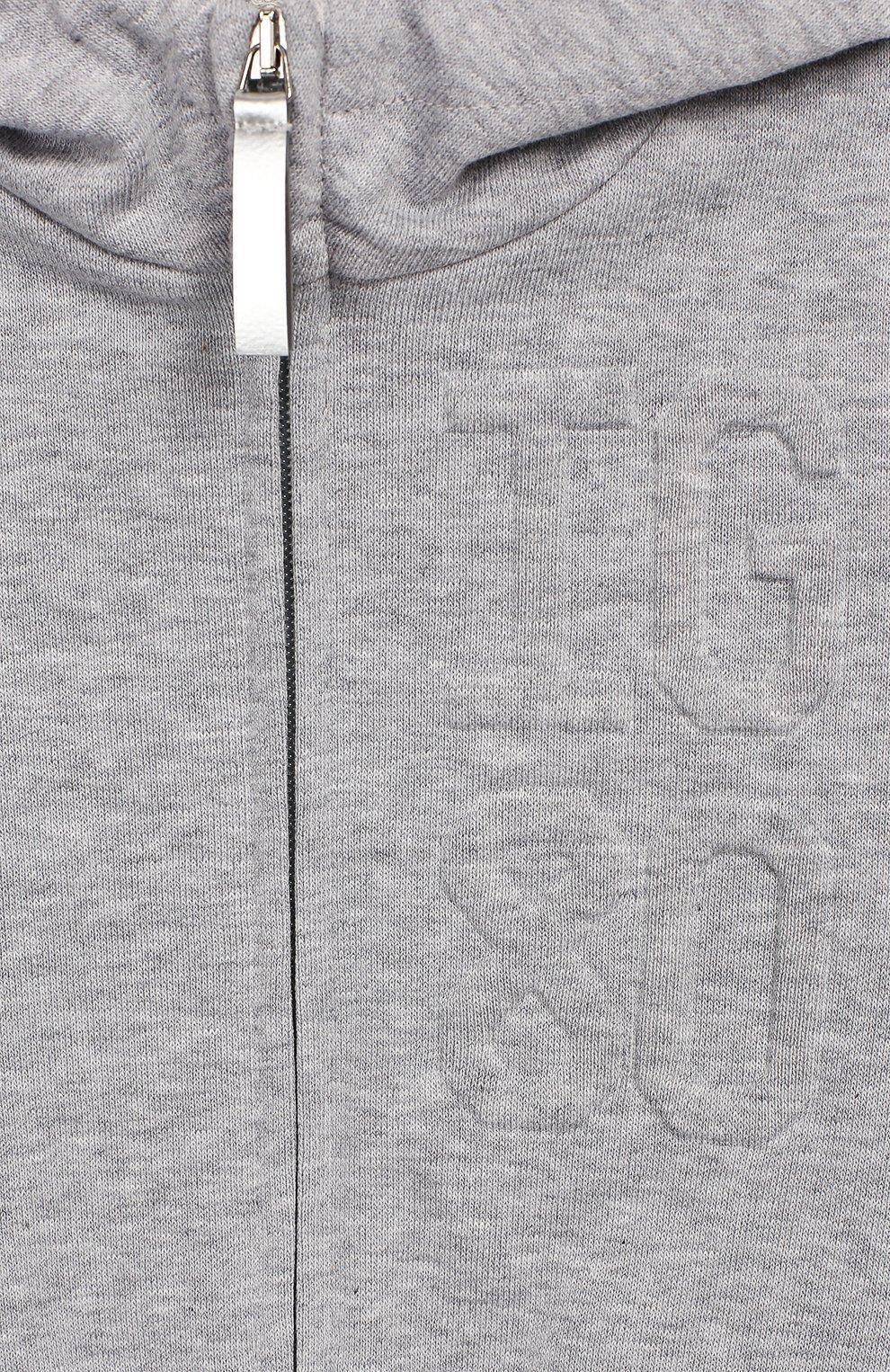 Детский хлопковый кардиган с капюшоном IL GUFO серого цвета, арт. P19GA301M0030/12M-18M   Фото 3 (Кросс-КТ НВ: Спорт-одежда; Рукава: Длинные; Материал внешний: Хлопок; Статус проверки: Проверено)